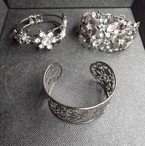 3 metal cuff and clamp bracelets